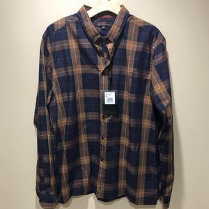 NWT Ben Sherman Plaid Navy Button Down Shirt 2XL